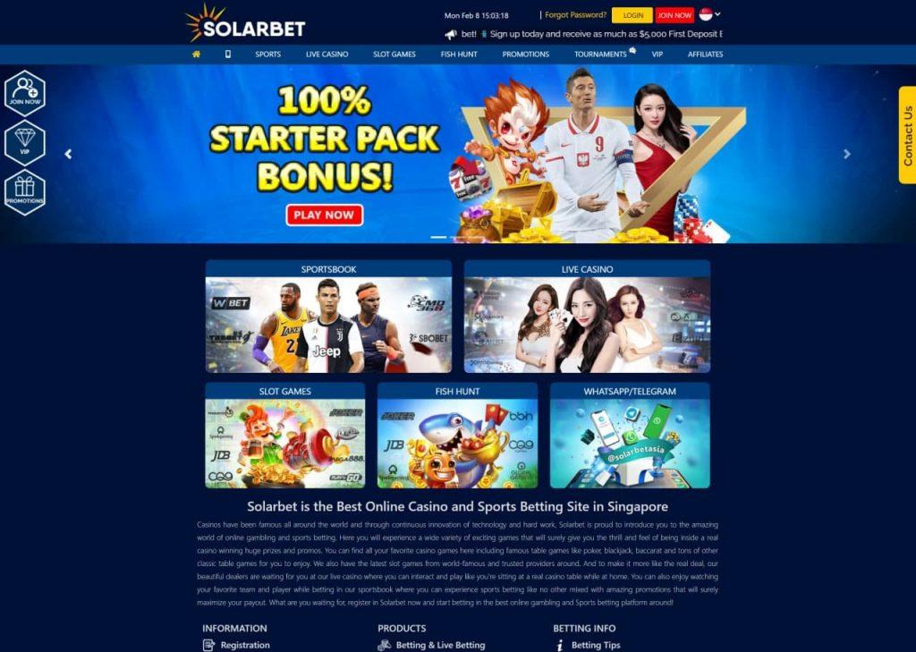 Solarbet Casino Homepage